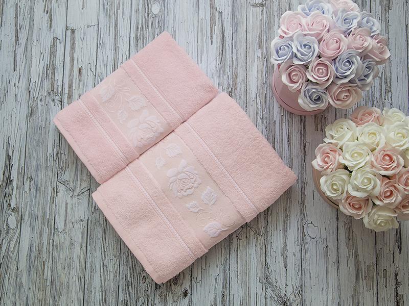 Комплект из 2-х полотенец махровых розовый МИШЕЛЬ